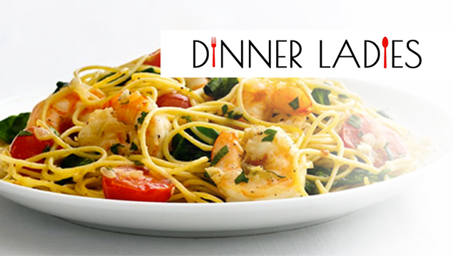 "dinner ladies logo - plate of prawn & tomato pasta with text ""dinner ladies"" (fork and spoon substituting for i's)"