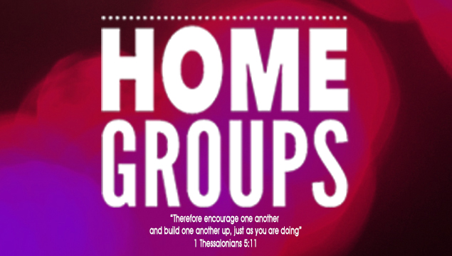 "red and purple home group logo with white text ""therefore encourage one another and build one another up, just as you are doing"""