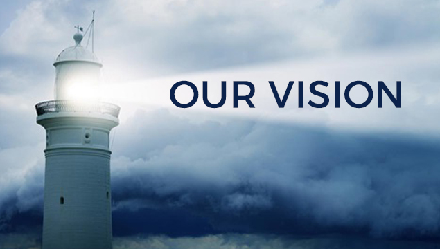 "lighthouse shining through stormy clouds with text ""our vision"""
