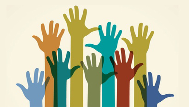 group of colourful raised hands