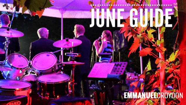 front page of June monthly guide - rear-view photo of band & singers from Moldova concert