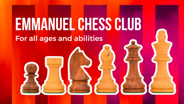"""chess club logo - chess pieces lined up against red stripy background with text """"Emmanuel Chess Club - for all ages and abilities"""""""
