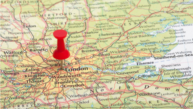 road map of UK zoomed-in to London/SE/Croydon - with red pin stuck into London