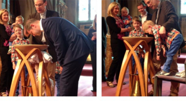 2 photos of father and son being baptised at the same service by Trevor Mapstone
