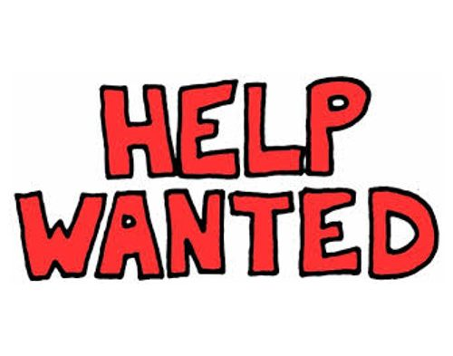 "red text ""help wanted"" on white background"