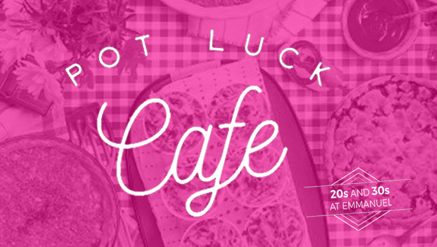 bright pink pot luck cafe logo - images of food silhouetted behind text