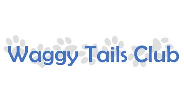 Waggy Tails Club logo - blue text, grey paw prints on white background
