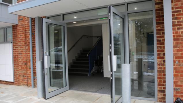 photo of Emmanuel Centre - Rockhampton Road entrance, with doors open
